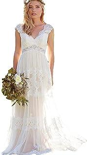 فستان زفاف إمبراطوري بوهيمي برقبة على شكل حرف V من Alanre نسائي شفاف من الدانتيل فستان العروس بأكمام قصيرة