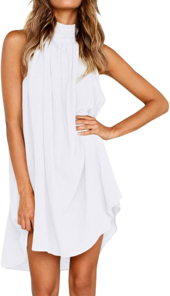 Women's Summer Sleeveless Halter Selling and selling Neck Shift Dress OFFicial store Str Mini