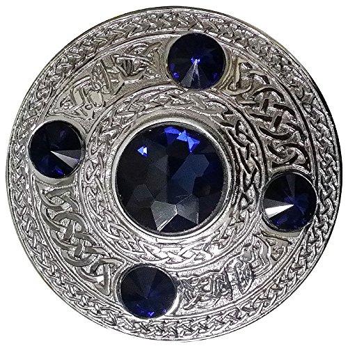 AAR Men's Celtic Kilt Fly Plaid Brooch Blue 5 Stones Silver 4'/ Scottish/Highland