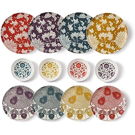cartaffini–Set Damas Complet -12pièces: 4Assiettes Plates, 4Assiettes à Dessert, 4Bols (Ocre, pétrole, Aubergine et Rouge)
