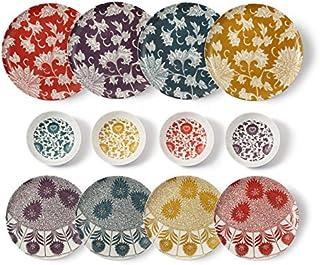 cartaffini–Set Damas Complet -12pièces: 4Assiettes Plates, 4Assiettes à Dessert, 4Bols (Ocre, pétrole, Aubergine et...