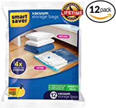 Smart Saver Pack of 12 Vacuum Variety Space Storage Bags with Hand Pump (4 X Jumbo, 4 X Large, 4 X Medium)