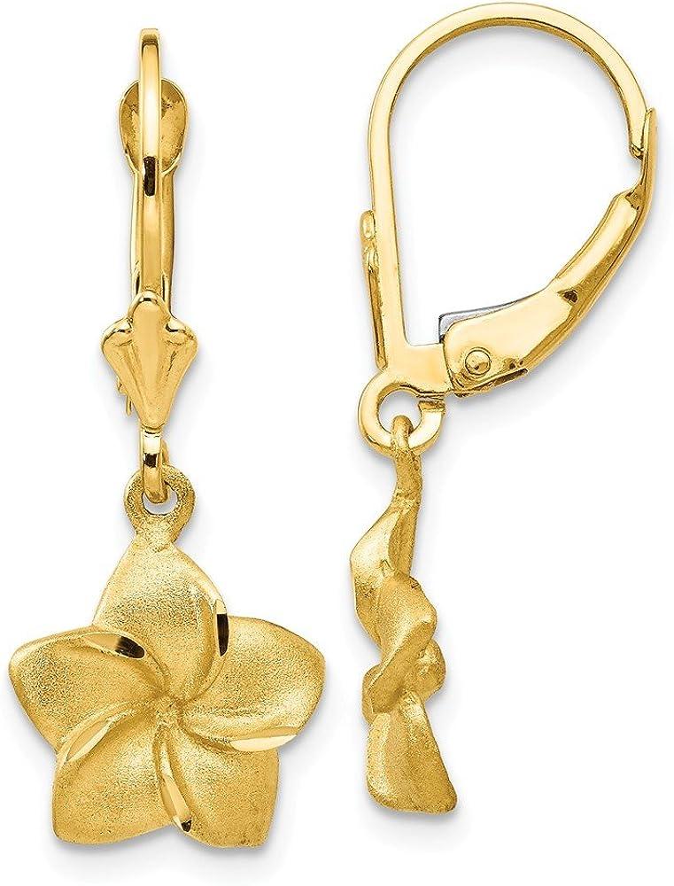 14k Yellow Gold Plumeria Drop Dangle Chandelier Leverback Earrings Lever Back Flower Gardening Fine Jewelry For Women Gifts For Her