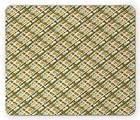 ストライプ長方形マウスパッド、交差したブラシストロークラインとストライプ抽象デコ鮮やかなイラスト、滑り止めラバーバッキングマウスパッド、多色