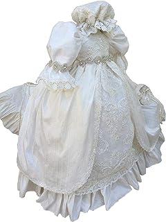 Fenghuavip Stylish Round Collar Sleeveless Ivory Baby-Girls Christening Gowns