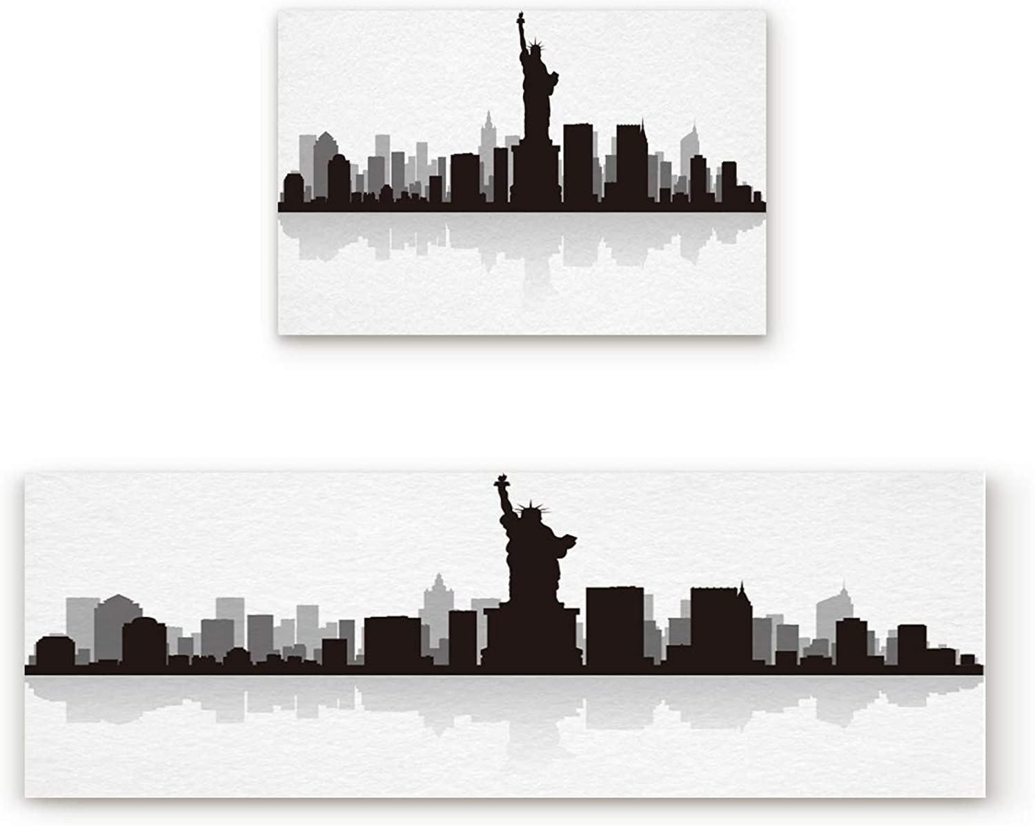 Findamy Non-Slip Indoor Door Mat Entrance Rug Rectangle Absorbent Moisture Floor Carpet for Statue of Liberty in Black Silhouette Doormat 23.6x35.4In+23.6x70.9In