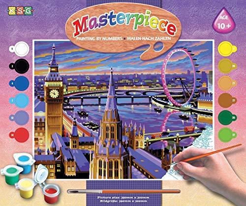 MAMMUT 8240422 - Malen nach Zahlen Senior, London, Skyline, Komplettset mit bedruckter Malvorlage im A3 Format, 12 Acrylfarben, Pinsel und Anleitung, großes Malset ab 10 Jahre