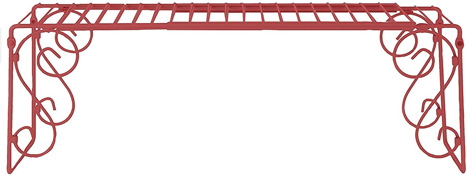 EXPANDABLE SCROLL METAL OVER THE SINK SHELF - RED