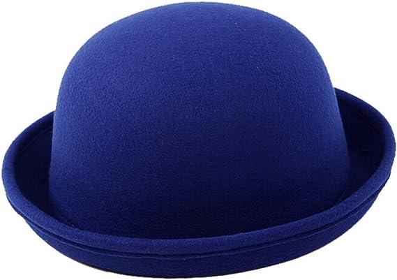 TININNA Inverno Caldo Vintage Bombetta Derby Berretto Rotolo Brim Secchio Cappello Cappellino di Tela per i Bambini Blu