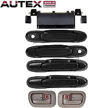 AUTEX 7pcs Door Handles Exterior Interior Front Rear Left Driver Right Passenger Side + Tailgate Handle Compatible with Toyota Sienna 1998-2003 Door Handles 80850 80357 80359 80533 80504 79600