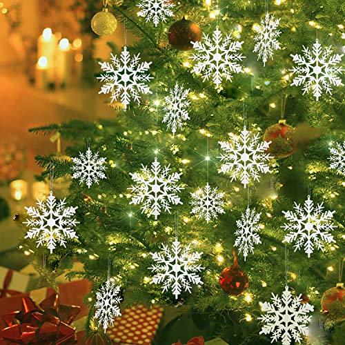 TATAFUN Weihnachten Schneeflocken, 24 Stück Weiß Schneeflocken Dekoration Plastik Aufhängen Weihnachtsbaum Hängende Ornamente Weihnachtsbaumschmuck Weihnachtsdeko Fensterdeko (7.5 + 10.5 +12.5 cm)