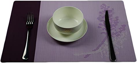 Sealike Elegant Leaves Print Table Placemat Table Mat Dinner Mat Desk Mat Set of 4 with Stylus Purple