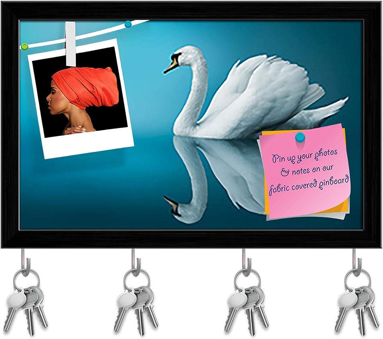 Artzfolio Fantastic Swan Key Holder Hooks   Notice Pin Board   Black Frame 9.2 X 6Inch