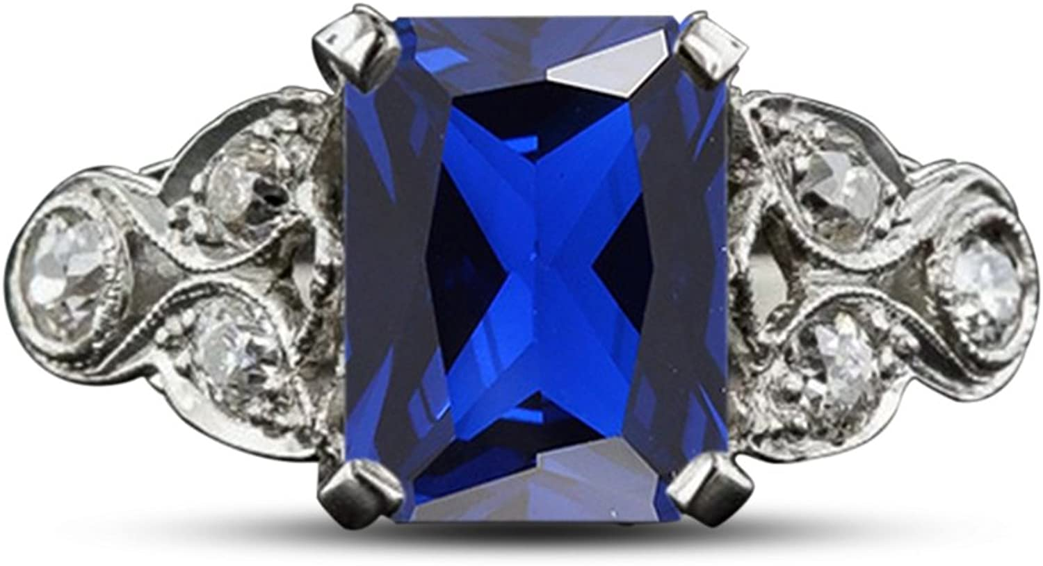 Vorra Fashion Women's Engagement Ring 925 Sterling Silver Emerald Cut bluee Sapphire