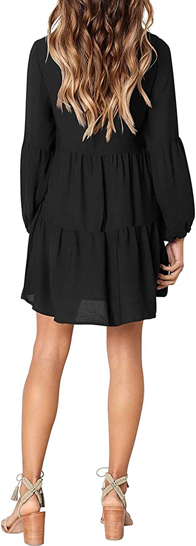 Happy Sailed Womens Leopard Tunic Dress Lantern Sleeve V Neck Casual Loose Flowy Swing Shift Dresses S-XL