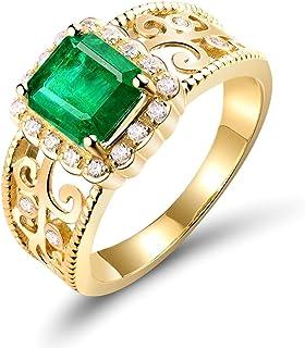 Daesar Anelli Donna Fidanzamento Oro Giallo 18K, Rettangolare Smeraldo 1.65ct Modello Vuoto con Diamante 0.2ct Anelli Oro ...