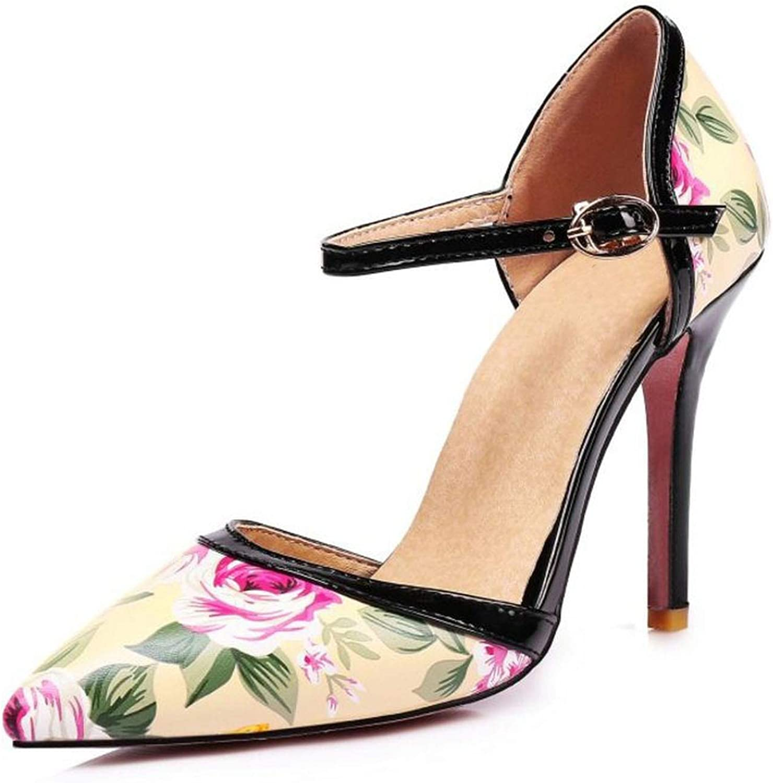 Mamamoo High Heels Summer shoes Woman Printing Flowers Women Sandalias Pointed Toe Ladies Wedding shoes