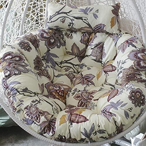 LLKK Espesar cojín redondo para silla Papasan con cojín para silla columpio de patio para colgar al aire libre, hamaca de huevo, cojín sin soporte, K 105 x 105 cm