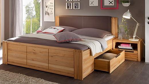 Möbel Akut Bett Colorado Doppelbett Kernbuche teilmassiv 180×200 mit Bettschubkästen