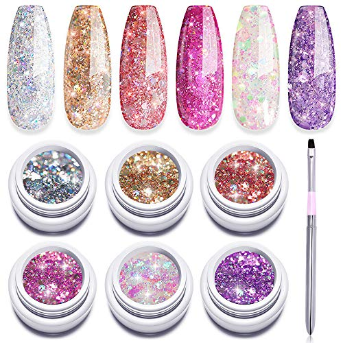 Modelones Gel Nail Polish Set + Painting Pen, 6 Color Glitter Gel Soak Off UV LED Super Platinum Glitter Nail Polish, Gold Pink Purple Orange Sliver White, Nail Manicure Set With Gift Box 5 ml
