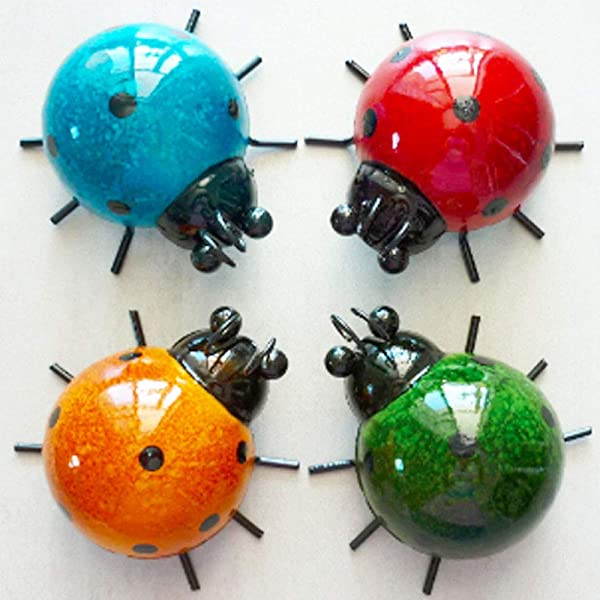WALLARTDECOR Metal Ladybugs Wall Art Cute 3D Sculpture Wall Decor Hanging For Indoor Outdoor Home Garden Easy To Install Antiseptic Set Of 4