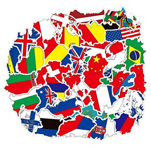 Daquan Kofferaufkleber, Motiv: chinesische Flagge, für Koffer, Trolley, Koffer, Aufkleber, Gitarre, wasserdicht, 50 Stück