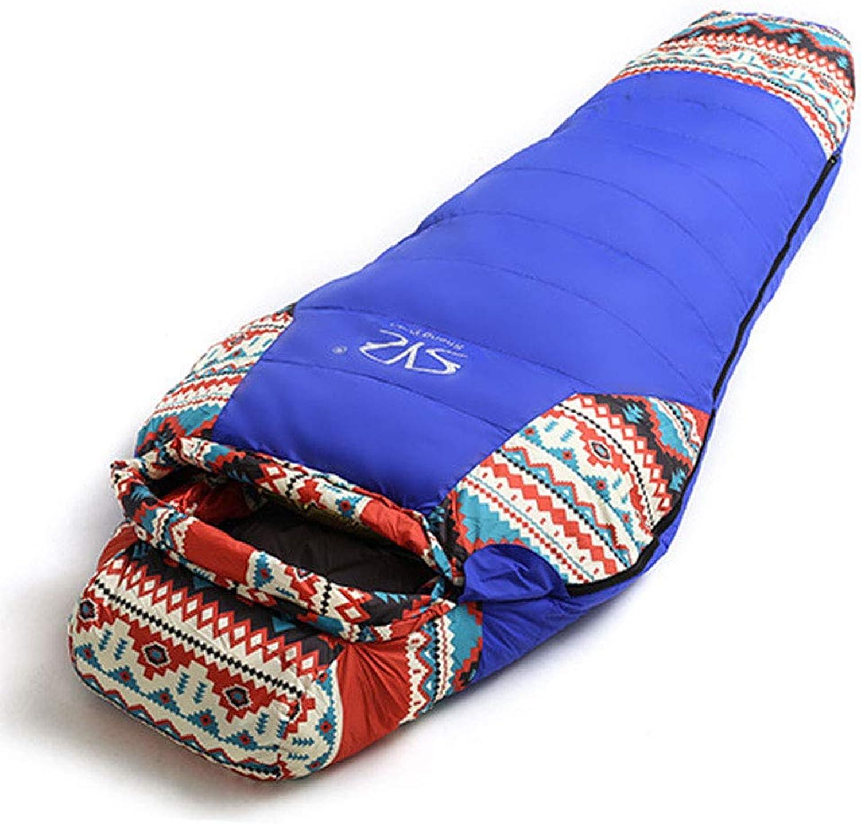 ZXC Einzelschlafsack National Wind Mumien Daunenschlafsack für Erwachsene im Freien Winter lehnt kalten, starken, warmen Campingausflug ab,Blau