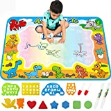 FREE TO FLY Large Aqua Drawing Mat for Kids Water Painting Writing Doodle Board Toy Color Aqua Magic Mat Bring Magic Pens Educational Travel Toys Gift for Boys Girls Toddlers Age 2 3 4 5 6