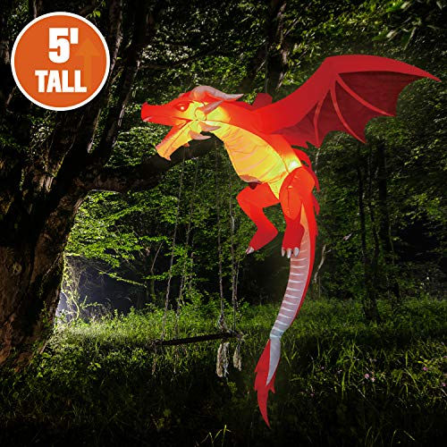 Joiedomi 5 FT Tall Halloween Inflatable Hanging Flying Dragon Inflatable Yard Decoration with Build-in LEDs Blow Up Inflatables for Halloween Party Indoor, Outdoor, Yard, Garden, Lawn Decorations