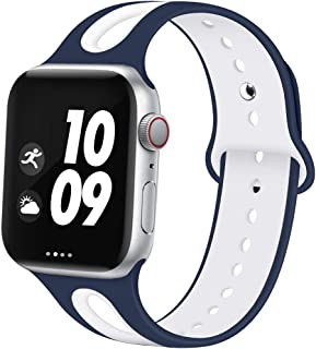 EXCHAR Sport Bands Compatible with Apple Watch Band 44mm 42mm 40mm 38mm Breathable Soft Silicone Strap Replacement Band for iWatch Series 5/4/3/2/1 for Women and Men