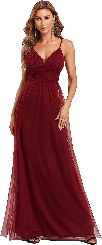 Ever-Pretty Women's V Neck Floor-Length Spaghetti Straps Tulle Formal Party Dress 50066