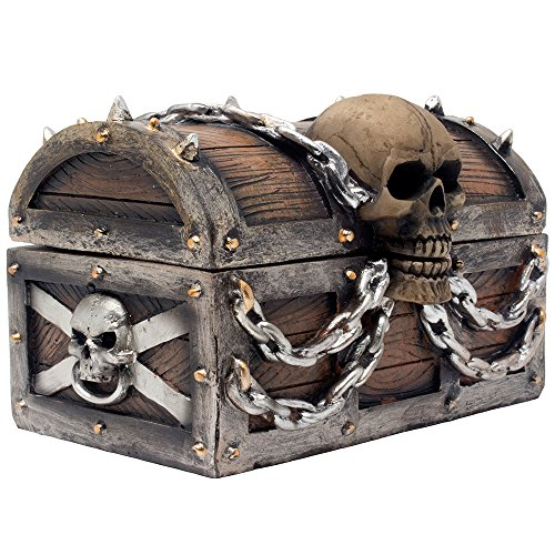 Evil Skull on Treasure Chest Trinket Box Statue with Hidden Storage Compartment for Decorative...