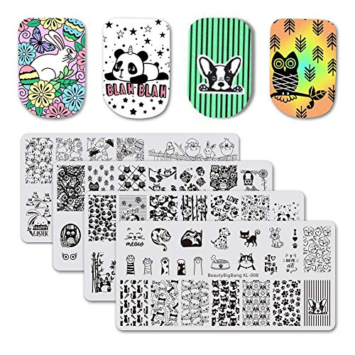 BEAUTYBIGBANG 4Pcs Nail Stamping Plate Animals Theme - Dogs Cats Panda Rabbit Owl Image Plates Nail...