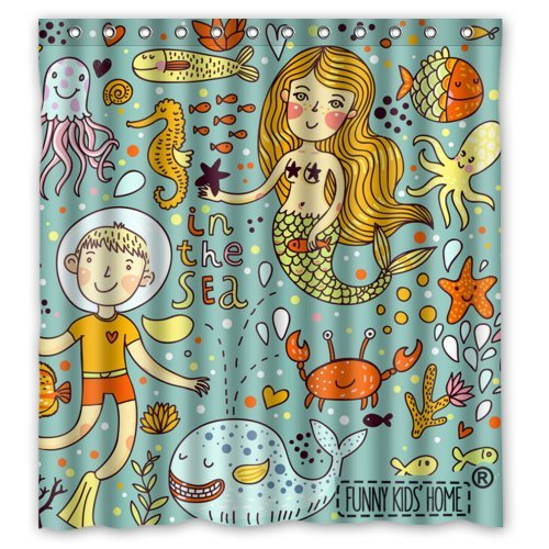 Cartoon Mermaid and Boy Crab Fishes in the ...