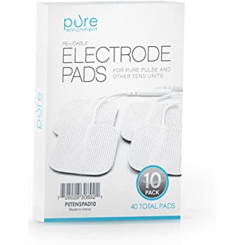PurePulse TENS Electronic Pulse Massager Pads – Premium, Self-Adhesive Replacement Electrode Pads Compatible with PurePulse and Most Other TENS Units (Total of 40 Pads)