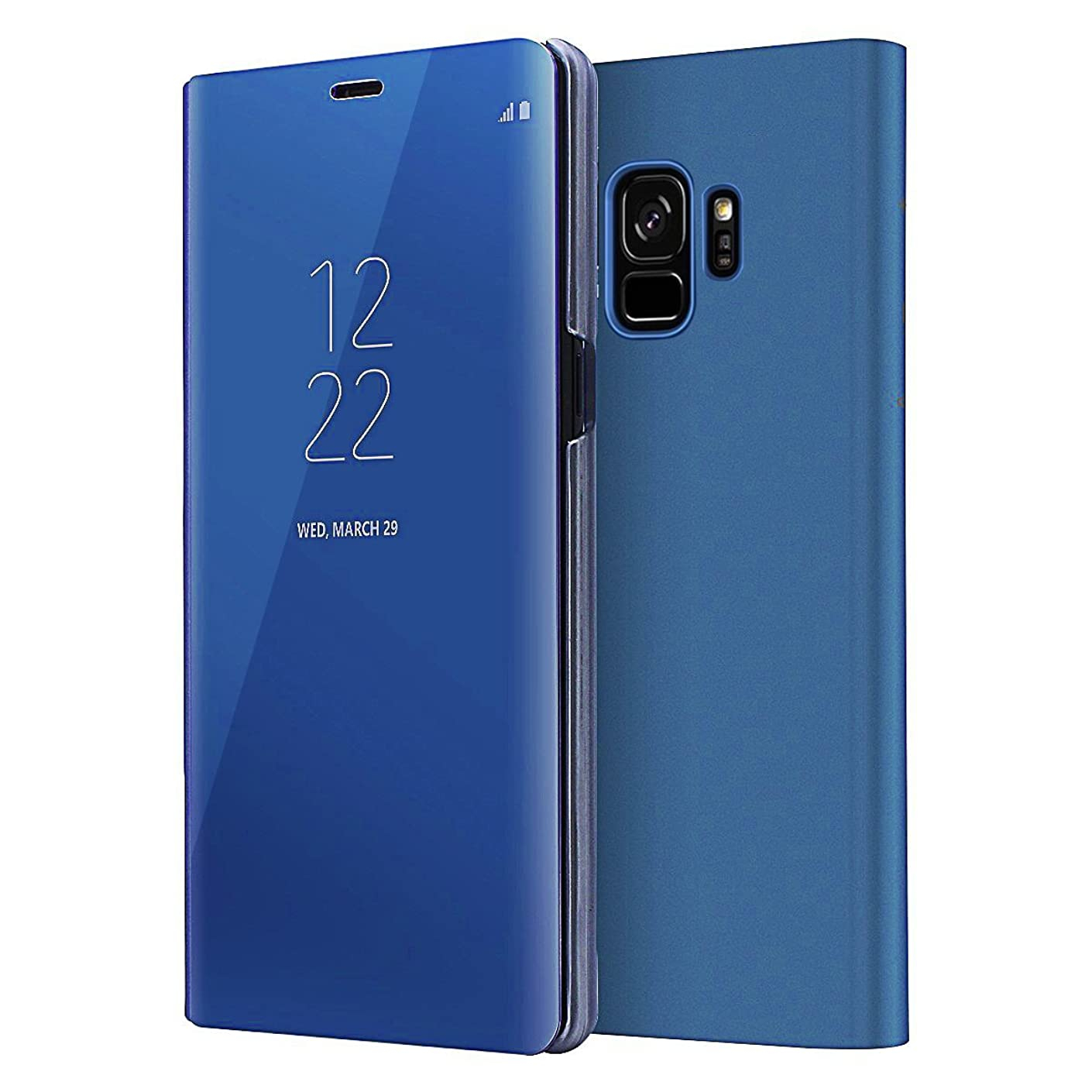 Galaxy S9 Case,WATACHE Translucent View Window Mirror Screen Electroplate Plating PC Stand Full Body Slim Protective Flip Folio Case for Samsung Galaxy S9(Blue)