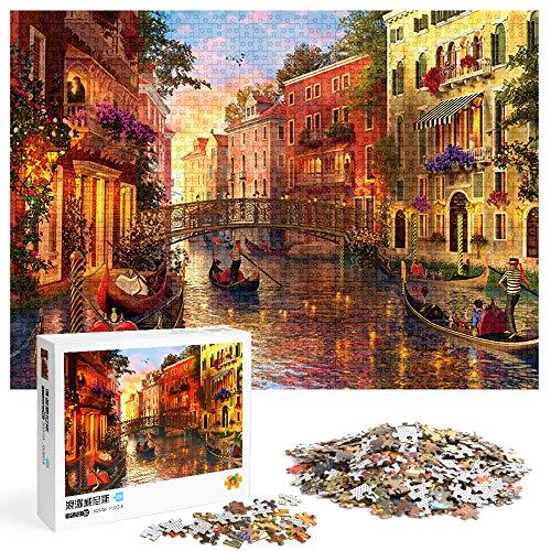Puzzle 1000 Piezas, Rompecabezas para Adultos, Atardecer en Venecia, Juego de Rompecabezas para Niños, Regalo Personalizado,Puzzles Souvenir Regalo para Adolescentes y Adultos, Rompecabezas Hogar (A)