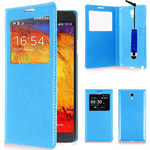 VComp-Shop® - Custodia in pelle sintetica per Samsung Galaxy Note 3 Neo SM-N7505 + mini pennino capacitivo, colore: Blu chiaro