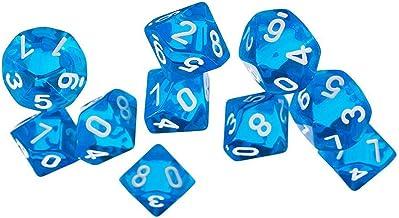 Aofocy Jeux Dice Dice Bijou à dix Faces pour Donjons Dragons Jeu de 10 dés (Bleu)