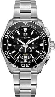 Men's Aquaracer 43mm Steel Bracelet & Case Quartz Black Dial Analog Watch CAY111A.BA0927