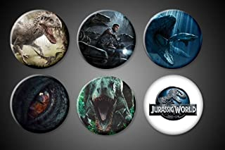 Jurassic World Pins set collection of 6 Indominus Rex, Owen and raptors, Jurassic World Logo - all the Dinosaurs! Pinbacks for bags backpacks shirts.