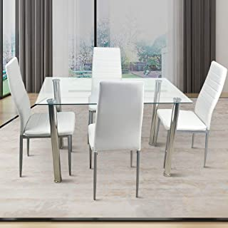 110cm Dining Table Set 5PCS Modern White Tempered Glass Dining Set with 4pcs PVC Leather Chairs Transparent & Creamy White