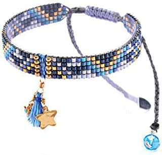 Beaded Adjustable-Size Friendship Bracelet with Tassel and Gold-Tone Star Charm - Blue