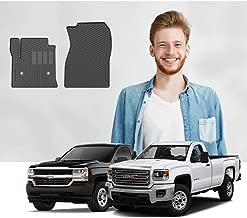 Road Comforts Custom Fit Chevrolet Silverado 2014-2019, GMC Sierra/Sierra Denali 2014-2018 1500/2500/3500 - Regular Cab Front Row Only (2pcs) (Black)