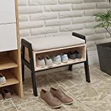Huisenuk Stackable Wood Shoes Rack Bench with Seat Changing Shoes Stool for Hallway Door Entryway Shoes Storage Cabinet Rack with Free Cushion