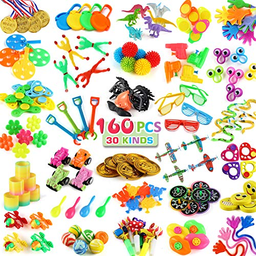 160 PCS Party Favors for Kids Birthday(30 Kinds), Bulk Toy for Carnival Prizes, School Classroom Rewards, Small Toys for Goodie Bag Stuffer and Pinata Filler, Treasure Chest Box for Child Boy Girl