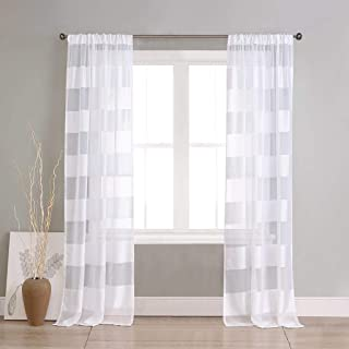 Home Maison - Capri Faux Line Striped Pole Top Window Curtains for Living Room & Bedroom - Assorted Colors - Set of 2 Panels (37 X 96 Inch - White)