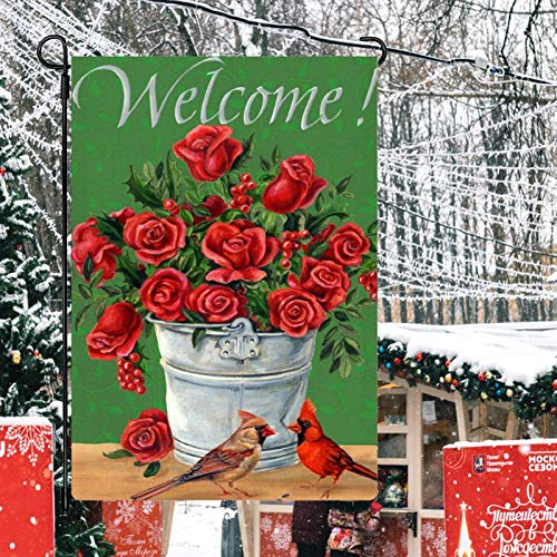 CUKENG Gartenflagge,Home Gartenfahne,Welcome Dekorativer Garten Fahne,Yard Dekoration Saisonale Outdoor Deko Flagge,Doppelseitig Sackleine GartenFlagge für Haus,Hof,Terrasse,Garten 32cm×47cm