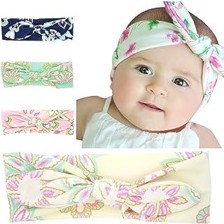 AKOAK 4 Pcs/Lot New Fashion Lovely Baby Bunny Headband Girl Headwear Bow Elastic Knot Headbands Hair Accessories
