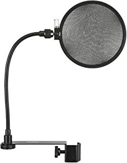 Monoprice Vocal Performance Dual Screen Microphone Pop Filter - Black With Double Semi Transparent Nylon Screens And Goose Neck Flexible C Clamp